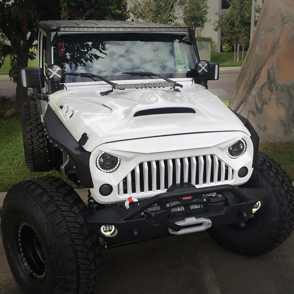 Jeep Wrangler Rhino >> Beast Monster Fiberglass Hood with Scoop Vent Jeep Wrangler JK 2007-2018 – Skull Krushers